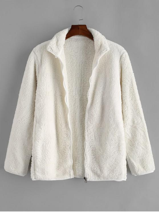 new Solid Faux Fur Fuzzy Zip Up Stand Collar Jacket - WARM WHITE L