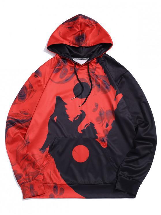 womens Wolf Printed Pocket Decorated Drawstring Hoodie - RED M