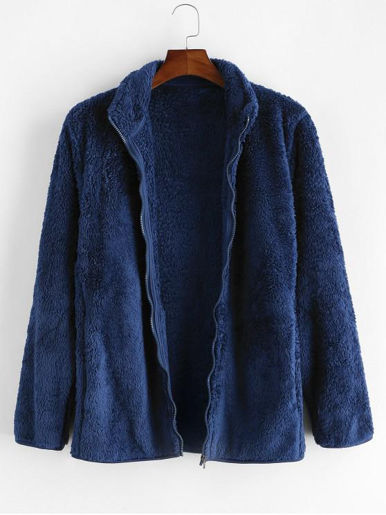 outfit Solid Faux Fur Fuzzy Zip Up Stand Collar Jacket - DARK SLATE BLUE XS