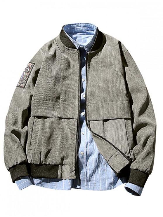 shops Print Patched Zipper Jacket - GRAY M
