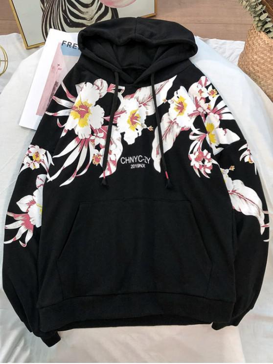 shop Flower Printed Pocket Casual Hoodie - BLACK 3XL