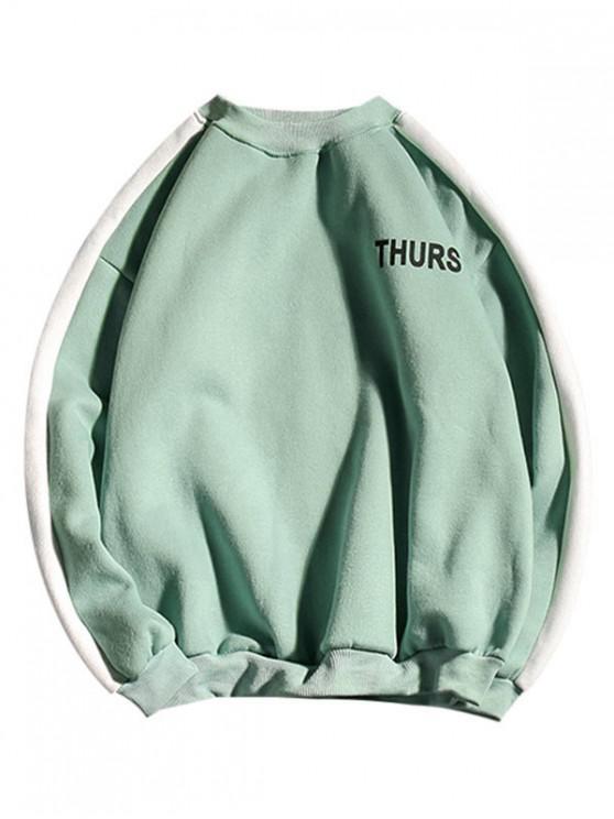 sale Letter Print Colorblock Spliced Fleece Sweatshirt - LIGHT GREEN L
