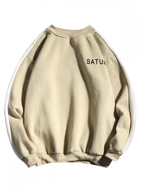 trendy Letter Print Colorblock Spliced Fleece Sweatshirt - BEIGE 2XL