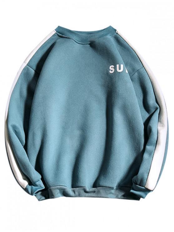 shops Letter Print Colorblock Spliced Fleece Sweatshirt - SILK BLUE XL