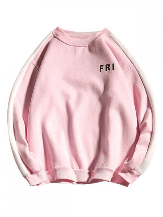 fashion Letter Print Colorblock Spliced Fleece Sweatshirt - LIGHT PINK M