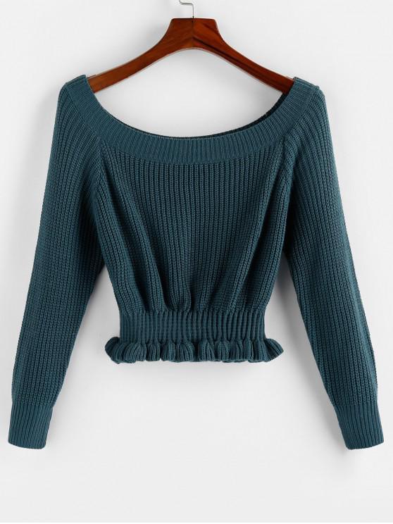 women ZAFUL Smocked Raglan Sleeve Sweater - PEACOCK BLUE S