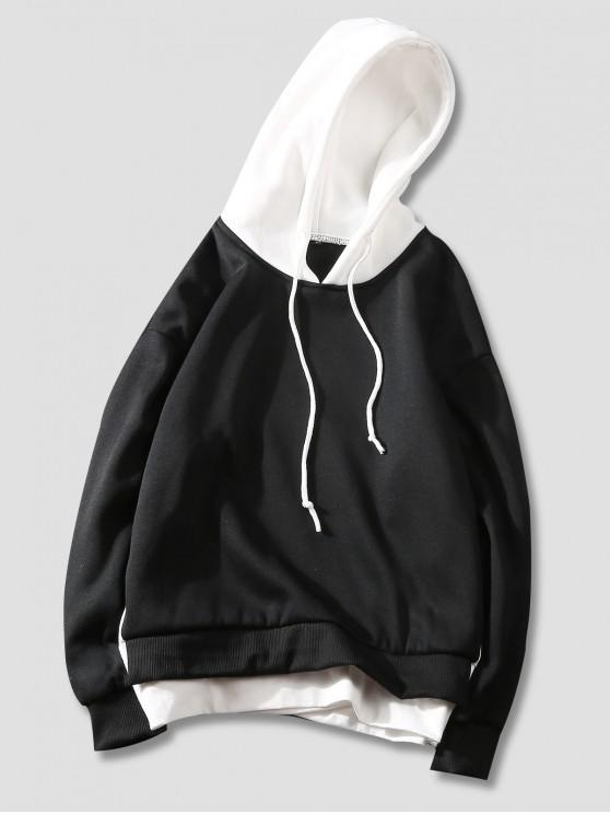 chic Color Blocking Letter Printed Casual Hoodie - BLACK XL