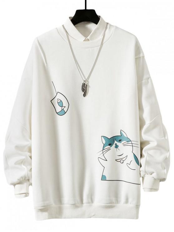 lady Funny Cat and Fish Print Drop Shoulder Fleece Sweatshirt - WHITE L