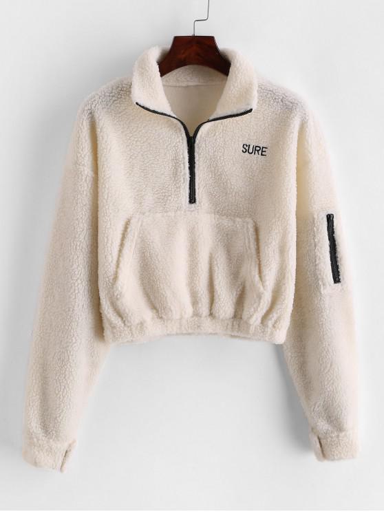 fancy Embroidered Half Zip Front Pocket Teddy Sweatshirt - WARM WHITE L