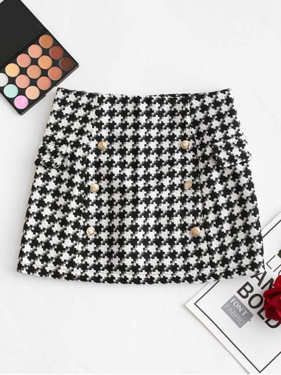 buy Puzzle Graphic Buttons Faux Pockets Skirt - BLACK L