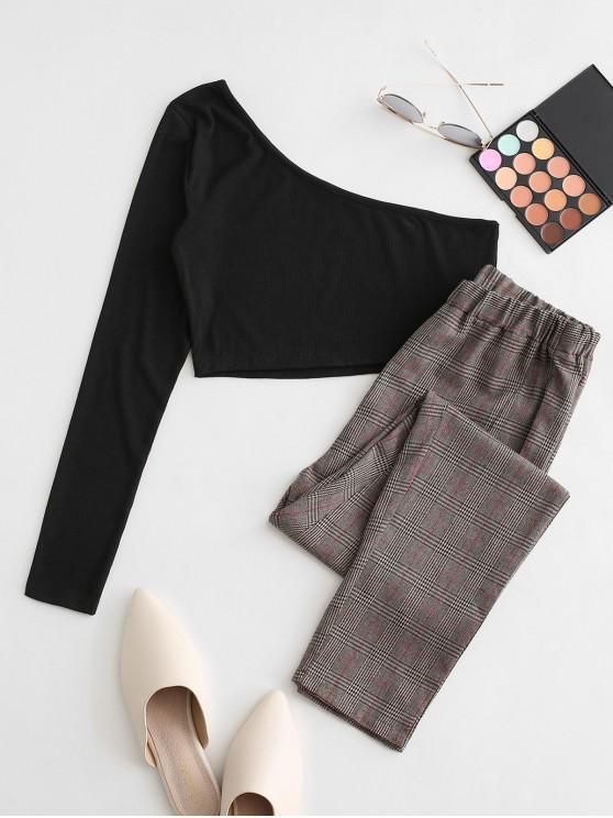 fancy One Shoulder Plaid Crop Two Piece Suit - BLACK XL