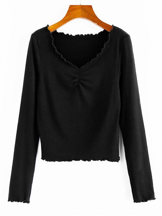 ZAFUL T-Shirt Côtelé à Col V à Ourlet en Laitue - Noir S