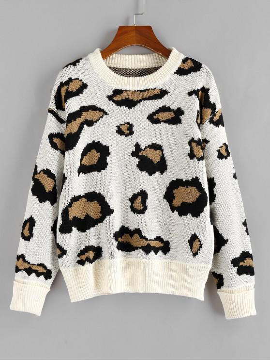 sale ZAFUL Leopard Print Sweater - MULTI L