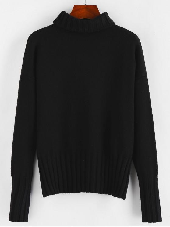 women ZAFUL Turtleneck Drop Shoulder Plain Jumper Sweater - BLACK S