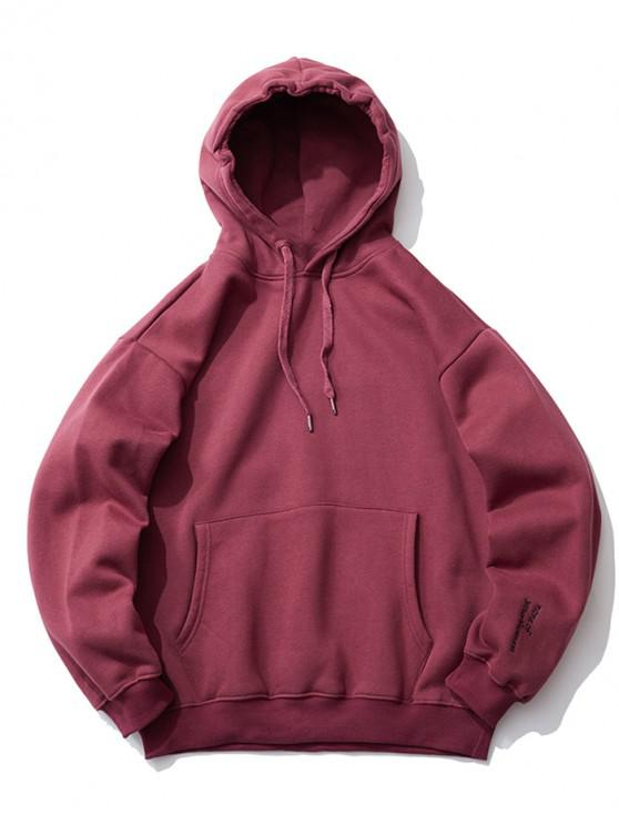 latest Embroidery Detail Drop Shoulder Fleece Hoodie - RED WINE XL