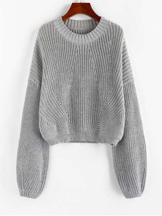 affordable ZAFUL Lantern Sleeve Chunky Sweater - GRAY GOOSE M