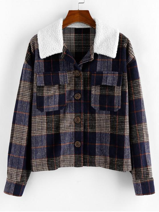 sale ZAFUL Plaid Drop Shoulder Faux Shearling Collar Jacket - MULTI-A S