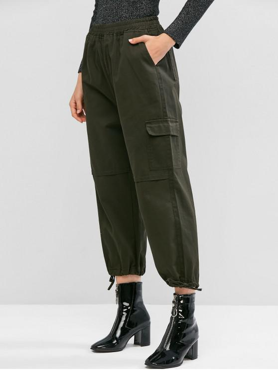 online Pocket Drawstring Cuff Casual Jogger Pants - ARMY GREEN L