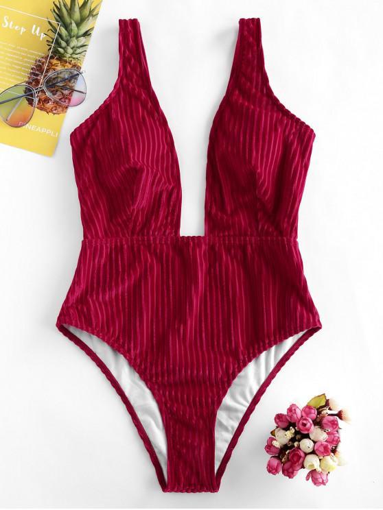 ZAFUL مضلع يغرق المخملية من قطعة واحدة ملابس السباحة - الحمم الحمراء M