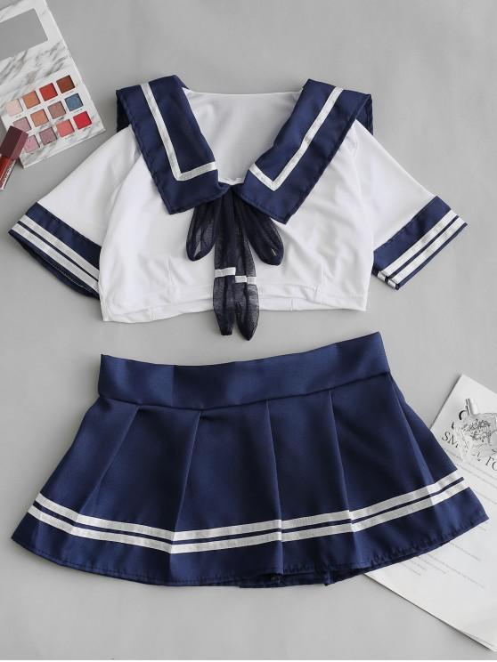 affordable Striped Bowknot Sailor Uniform Lingerie Costume - DEEP BLUE ONE SIZE