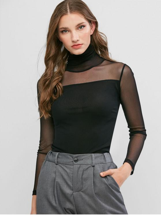 women Mesh See Thru Turtleneck Slim Tee - BLACK L