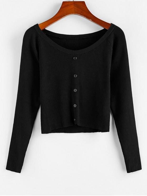 lady ZAFUL Ribbed Mock Buttons T Shirt - BLACK L