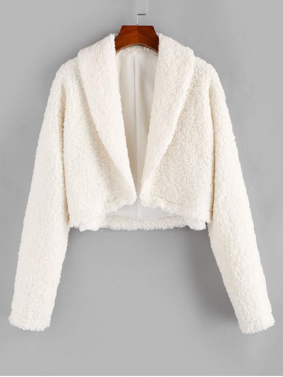 unique ZAFUL Open Front Faux Fur Coat - MILK WHITE L