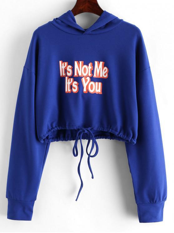 sale Slogan Graphic Drawstring Hem Cropped Hoodie - BLUE M