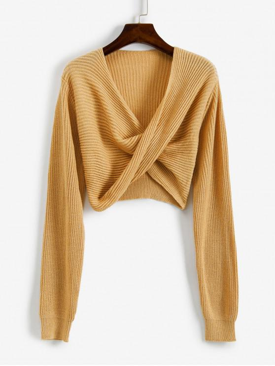 outfits V Neck Cropped Twist Front Sweater - YELLOW XL