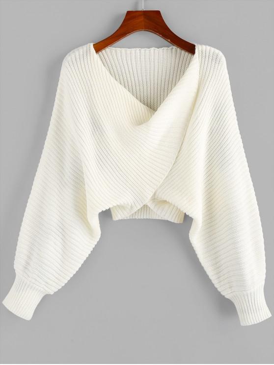 outfit Twist Asymmetric Crop Sweater - WHITE M