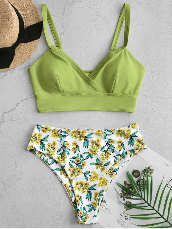 affordable ZAFUL Floral Surplice High Cut Tankini Swimsuit - LIGHT GREEN L