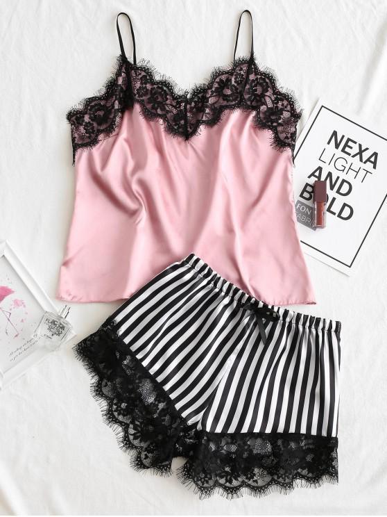 Полосатый принт Кружевной край Атлас Пижама Набор - Розовый S