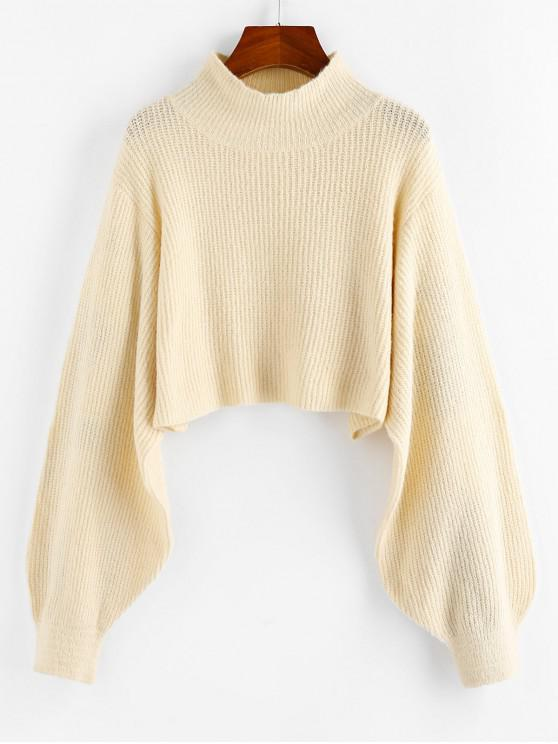 affordable ZAFUL Lantern Sleeve Cropped Sweater - WARM WHITE L