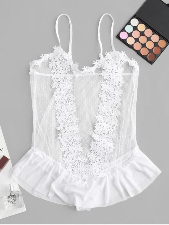 shop Flower Applique Lace Skirted Lingerie Teddy - WHITE L