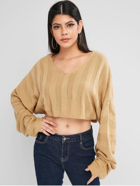 womens ZAFUL V Neck Dolman Sleeves Crop Sweater - KHAKI M