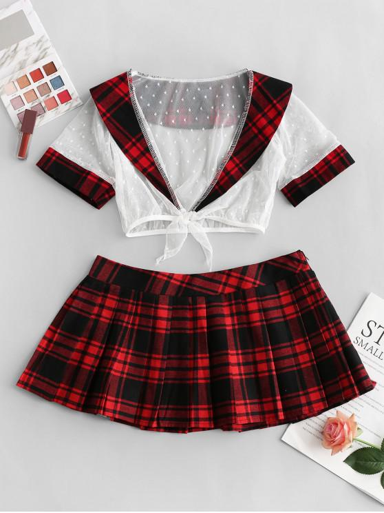 affordable Dotted Lace Plaid Pleated Lingerie School Girl Costume - RED ONE SIZE