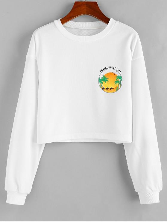 online ZAFUL Travel In Old City Graphic Drop Shoulder Crop Sweatshirt - WHITE M