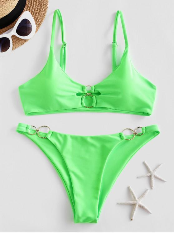 ZAFUL المزدوج O-حلقة النيون بيكيني ملابس السباحة - أخضر S
