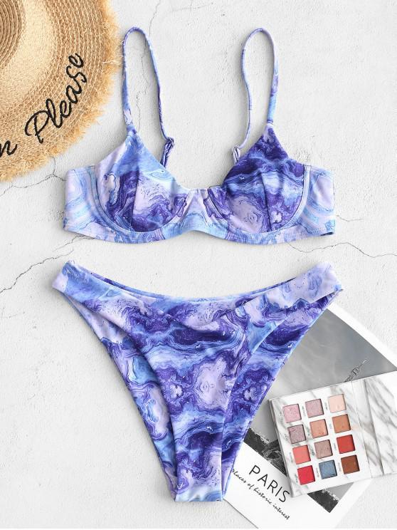 Costume da Bagno Bikini Stampato Astratto con Ferretto di ZAFUL - Blu L