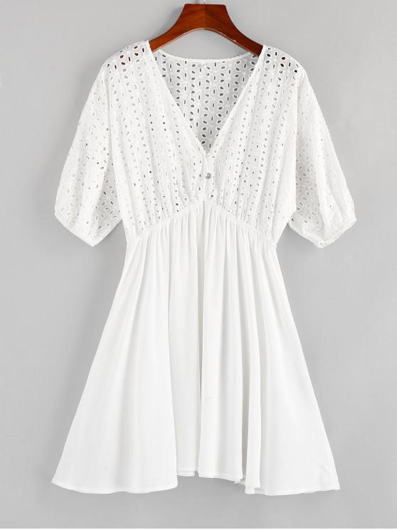 fashion ZAFUL Eyelet Batwing Sleeve Plunging Mini Dress - MILK WHITE S