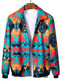 Geometric Graphic Print Rib-knit Trim Jacket - Multi Xl