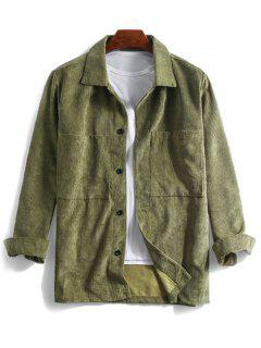 Solid Pocket Long Sleeve Button Cord Shirt - Army Green 3xl