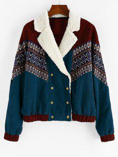 ZAFUL Double Breasted Tribal Print Faux Shearling Collar Corduroy Jacket - Peacock Blue S