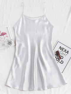 Mini Robe Pyjama Soyeuse à Bretelle - Argent S