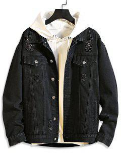 Casual Destroy Wash Ripped Denim Jacket - Black S