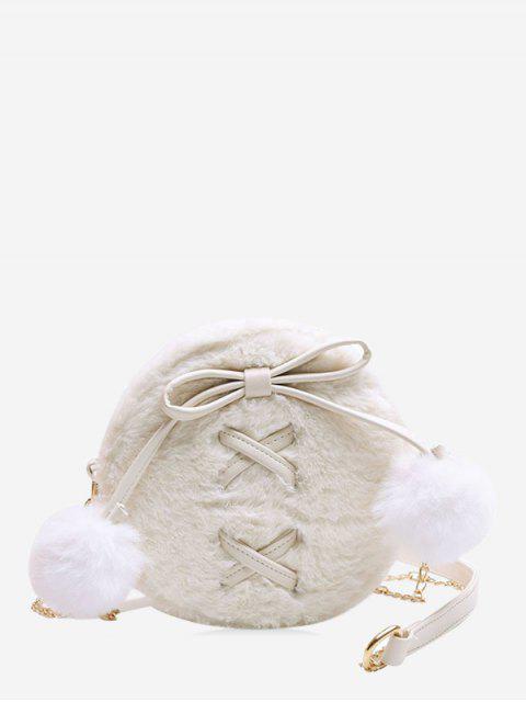 Bolsa de hombro del bowknot de la bola Fuzzy - Blanco  Mobile