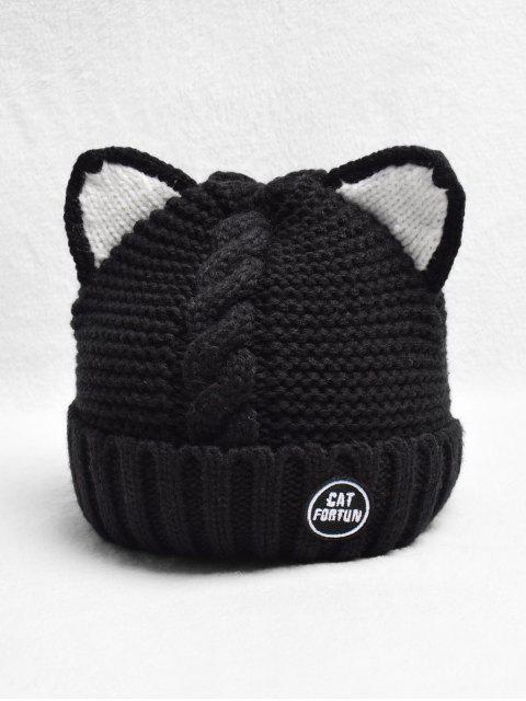Уши кошки Шерсть Вязаная Шляпа - Чёрный  Mobile