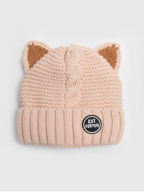 womens Braid Cat Ear Fleece Knitted Hat - APRICOT  Mobile