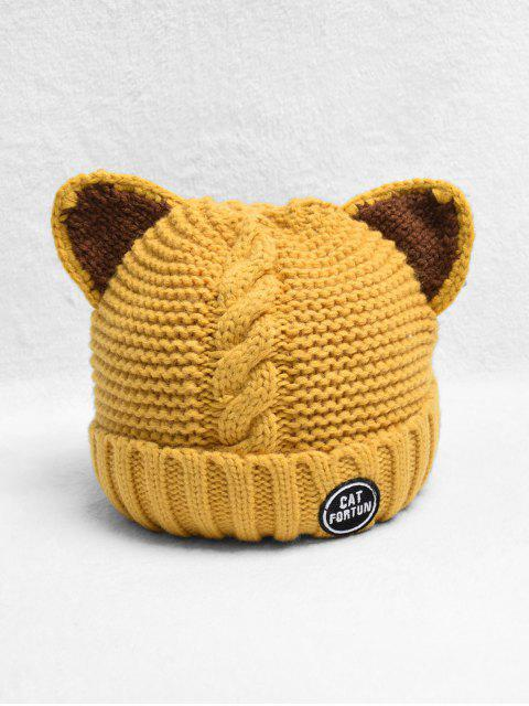 ladies Braid Cat Ear Fleece Knitted Hat - BRIGHT YELLOW  Mobile