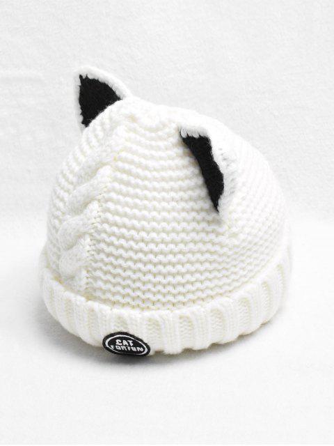 new Braid Cat Ear Fleece Knitted Hat - MILK WHITE  Mobile